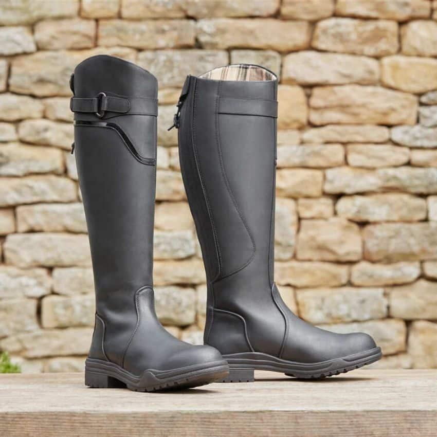 Mørkebrune læderridestøvler