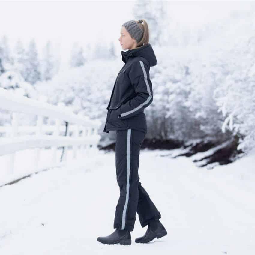 Sorte vinter ridebukser med hvid stribe